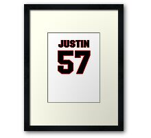 NFL Player Justin Tuggle fiftyseven 57 Framed Print