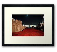 Poppies at theTower of London - At Night with the Shard. Framed Print