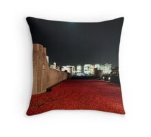 Poppies at theTower of London - At Night with the Shard. Throw Pillow