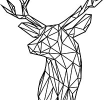 Black Wire Faceted Stag Trophy Head by dotsan