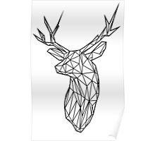 Black Wire Faceted Stag Trophy Head Poster