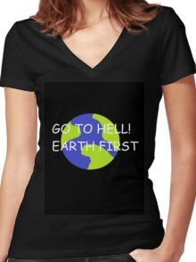 Hell or Earth Women's Fitted V-Neck T-Shirt