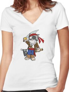 Pira cat (chat pirate) Women's Fitted V-Neck T-Shirt