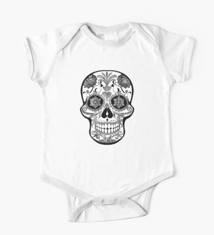 Skull - black and white watercolor One Piece - Short Sleeve