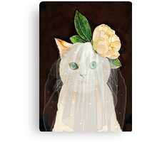 The Bride Cat Art Canvas Print