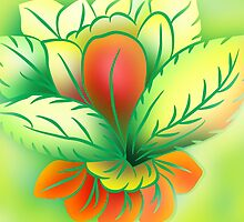 Green Healthy Living Flower Abstract by Malinda @ Cherrytwiss Art & Fashion House