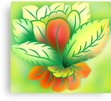 Green Healthy Living Flower Abstract Canvas Print