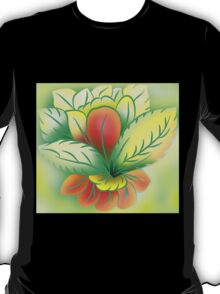Green Healthy Living Flower Abstract T-Shirt