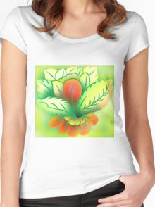 Green Healthy Living Flower Abstract Women's Fitted Scoop T-Shirt