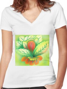 Green Healthy Living Flower Abstract Women's Fitted V-Neck T-Shirt