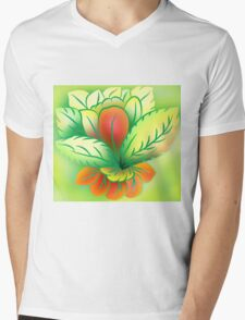 Green Healthy Living Flower Abstract Mens V-Neck T-Shirt