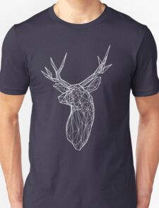 3D White Wire Stag Trophy Head T-Shirt