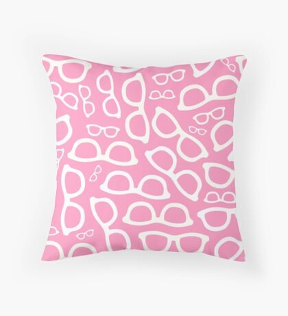 Pastel Pink Smart Glasses Pattern Throw Pillow