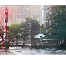 Girl with umbrella in the rain Photographic Print