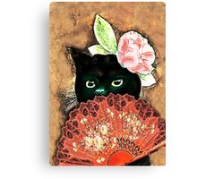 The Fan Cat Art Canvas Print