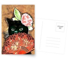 The Fan Cat Art Postcards