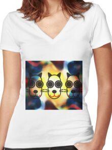 MOODI 3 cat, by m a longbottom - PLATFORM58 Women's Fitted V-Neck T-Shirt