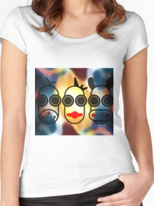 MOODI FACES 01, by m a longbottom - PLATFORM58 Women's Fitted Scoop T-Shirt