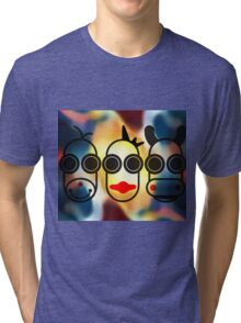 MOODI FACES 01, by m a longbottom - PLATFORM58 Tri-blend T-Shirt