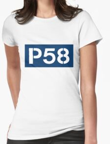 P58 - LOGO IN BLUE RECTANGLE Womens Fitted T-Shirt