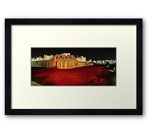 Poppies at theTower of London -  Night Panorama Framed Print