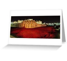 Poppies at theTower of London -  Night Panorama Greeting Card