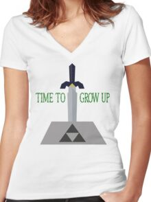 Time to Grow Up Women's Fitted V-Neck T-Shirt