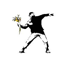 Banksy - Flower thrower (with white outline for dark t-shirts) Photographic Print