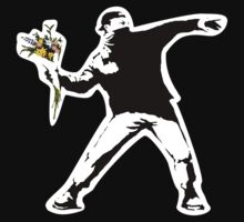 Banksy - Flower thrower (with white outline for dark t-shirts) by monica90