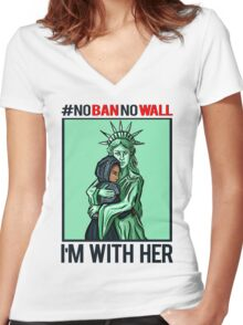 NASTY WOMEN NO BAN NO WALL I'M WITH HER Women's Fitted V-Neck T-Shirt