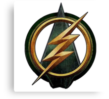 CW Arrow and The Flash Crossover Symbol Shirt Canvas Print