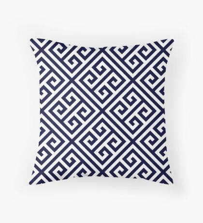 Greek Key Navy Blue And White Diagonal Pattern Throw Pillow
