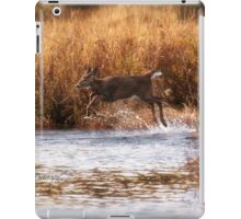 White Tail Deer jumping into the Creek - Parc National Mont Tremblant iPad Case/Skin