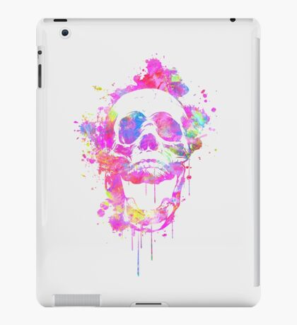 Cool & Trendy Pink Watercolor Skull iPad Case/Skin