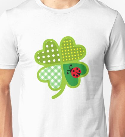 Colorful Four Leaf Clover St. Patrick Good Luck Artistic  Unisex T-Shirt