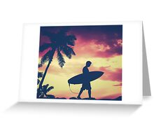 Hawaii Surfer At Sunset Greeting Card