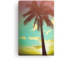 Retro Styled Palm Tree Canvas Print