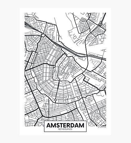 Vector poster map city Amsterdam Photographic Print
