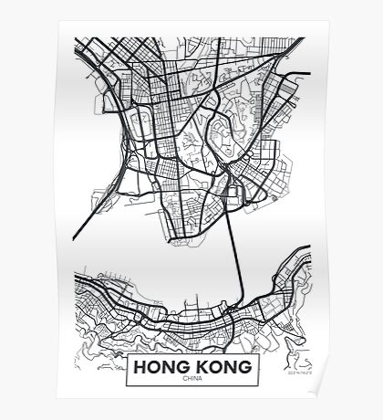 Vector poster map city Hong Kong Poster