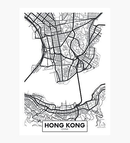 Vector poster map city Hong Kong Photographic Print