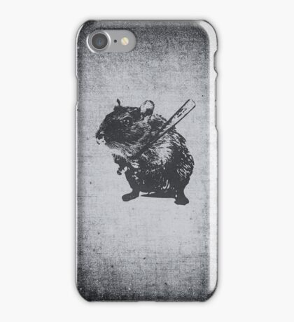 Angry street art mouse / hamster (baseball edit) iPhone Case/Skin