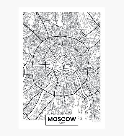Vector poster map city Moscow Photographic Print