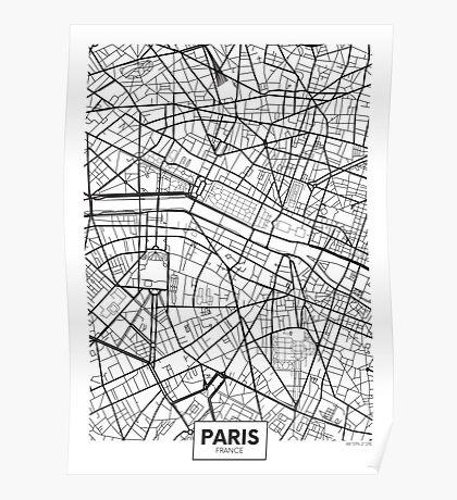 Vector poster map city Paris Poster
