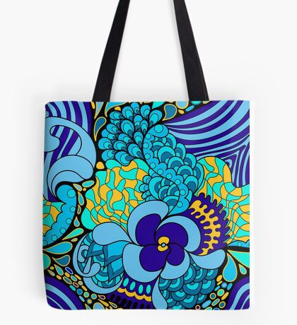 60s hippie psychedelic pattern Tote Bag