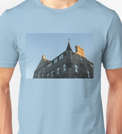Silver City Architecture - Aberdeen Facade with a Whimsical Tower at Sunrise Unisex T-Shirt