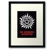 Supernatural No Demons Allowed [WHITE] Framed Print