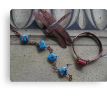 Glass Bead Bracelets and Dragonfly Pin  Canvas Print
