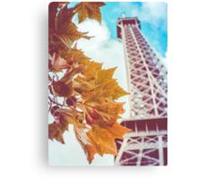 Retro Eiffel Tower In The Fall Canvas Print