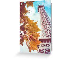 Retro Eiffel Tower In The Fall Greeting Card