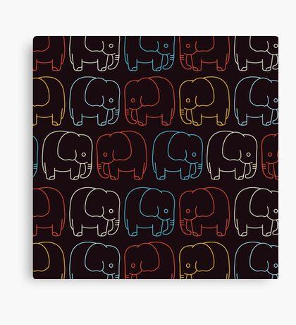 Cute Retro Elephants  Canvas Print